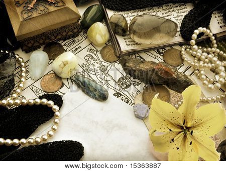 Astrological still life of zodiac symbols - Libra