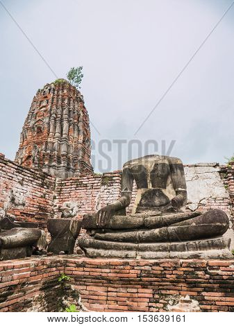 Wat Mahathat, ruined ancient Buddhist temple in Ayutthaya Thailand