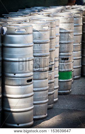 Image of a stack of beer barrels.