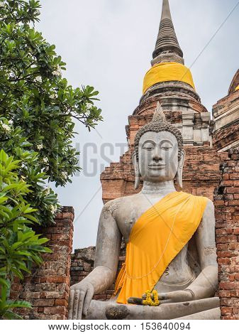 Wat Yai Chai Mongkol, ruined ancient Buddhist temple in Ayutthaya Thailand