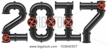 new 2017 year from oil pipes. Isolated on white background. 3D illustration.