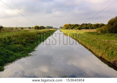 South Drain at Shapwick Heath National Nature Reserve. Straight dyke draining landscape of Avalon Marshes on the Somerset Levels Somerset UK