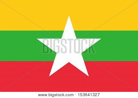Official vector flag of Myanmar . Republic of the Union of Myanmar .