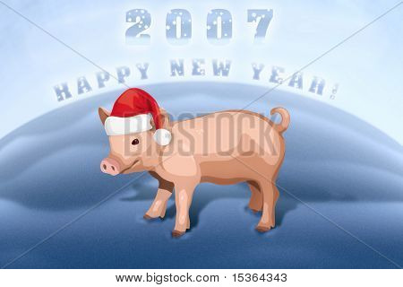 Piglet happy new year. Illustration.