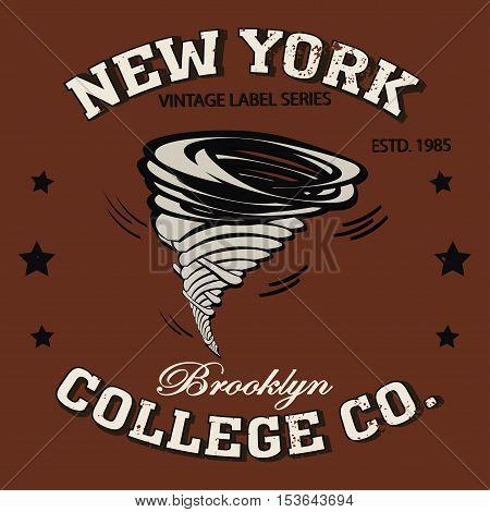 New york Brooklyn sport typography tornado t-shirt - vector