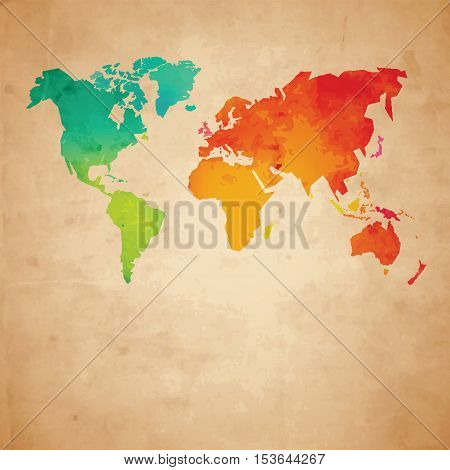 Colorful vector world map on aged paper texture