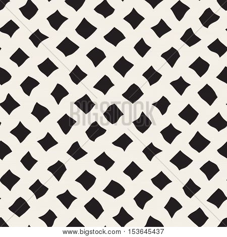 Vector Seamless Black and White Hand Drawn Diagonal Rectangles Pattern. Abstract Freehand Background Design