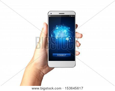 Hand holding Smartphone with Network connection on display.