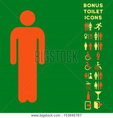 Man icon and bonus man and female lavatory symbols. Glyph illustration style is flat iconic bicolor symbols, orange and yellow colors, green background.