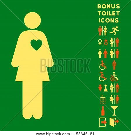 Mistress icon and bonus male and lady lavatory symbols. Glyph illustration style is flat iconic bicolor symbols, orange and yellow colors, green background.