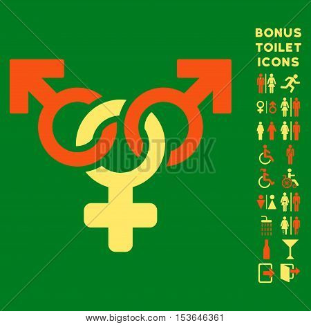 Polyandry icon and bonus male and female restroom symbols. Glyph illustration style is flat iconic bicolor symbols, orange and yellow colors, green background.