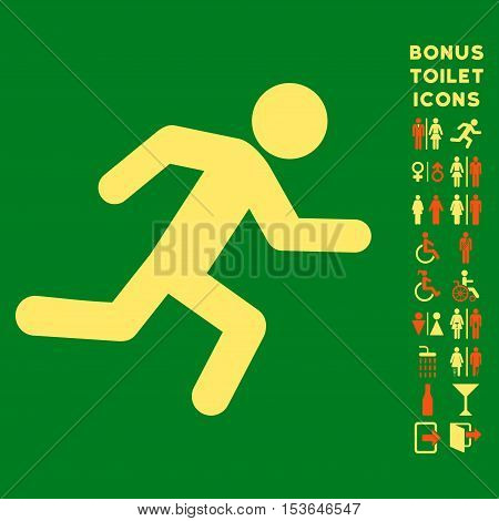Running Man icon and bonus man and lady WC symbols. Glyph illustration style is flat iconic bicolor symbols, orange and yellow colors, green background.