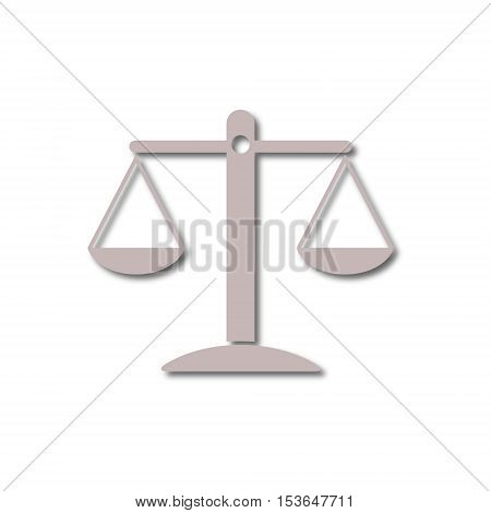 Simple Justice Scale Icon on white background