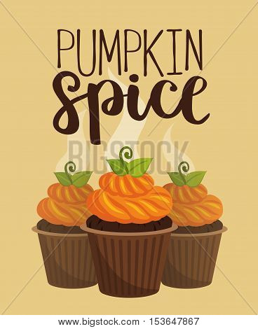Vector Illustration Card With Pumpkin Spice Cupcakes On Beige Background.