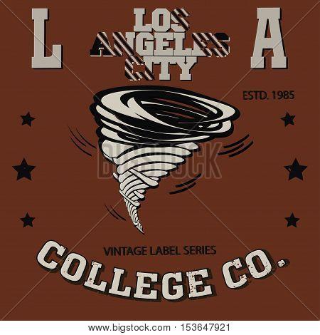 Los Angeles California sport typography tornado t-shirt - vector