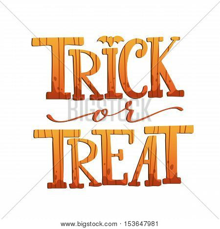 Trick Or Treat. Halloween Poster With Hand Lettering And Pumpkin Texture On White Isolated Backgroun