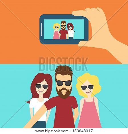 People Selfie Photo Hipster Friends Flat Vector Illustration