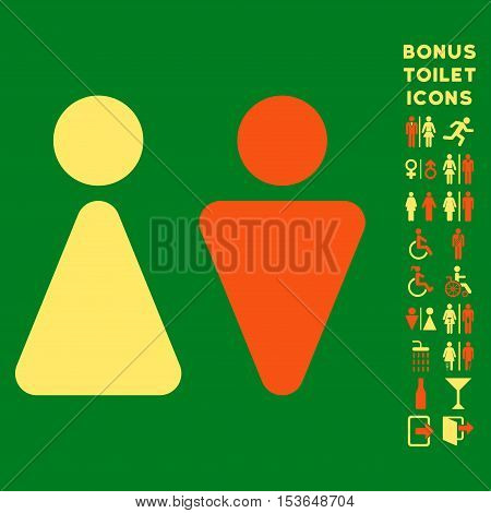 WC Persons icon and bonus man and woman lavatory symbols. Glyph illustration style is flat iconic bicolor symbols, orange and yellow colors, green background.