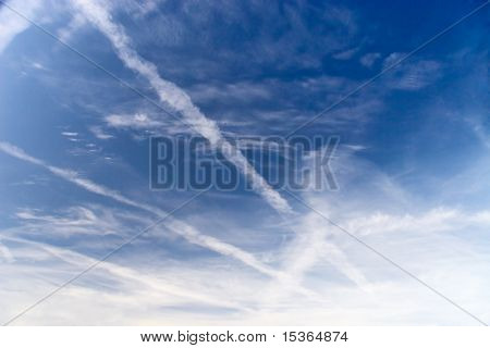 Blue sky with traces.