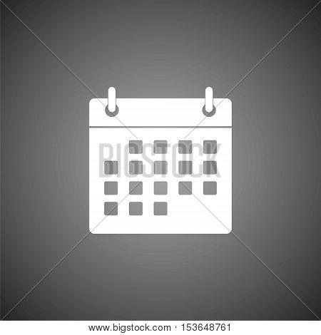 Simple Calendar icon on gray background, vector icon