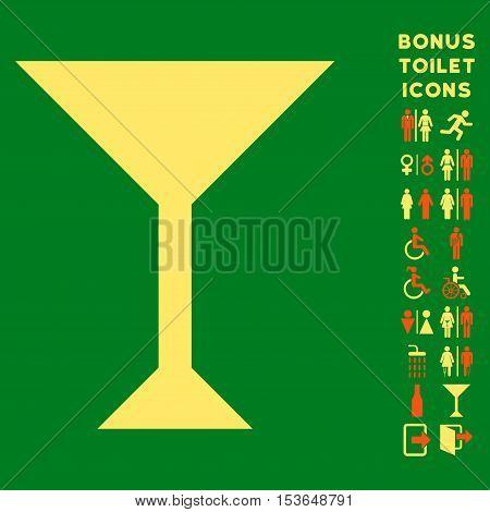 Wine Glass icon and bonus gentleman and lady lavatory symbols. Glyph illustration style is flat iconic bicolor symbols, orange and yellow colors, green background.