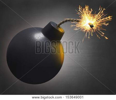 3D rendering of an old cartoon style round bomb