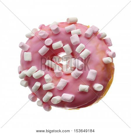 Tasty donut with marshmallow isolated on white
