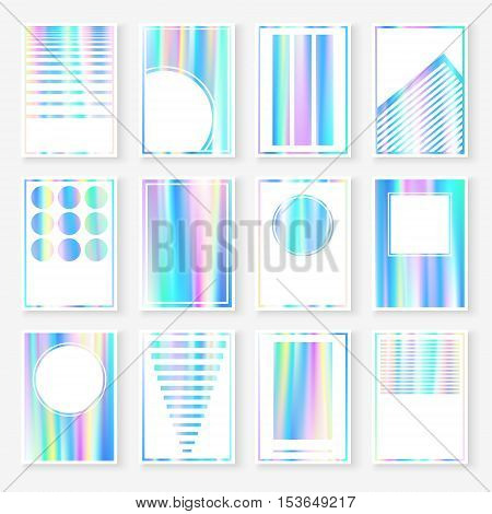 Holographic Cards Templates Set Pastel Blurs Blue
