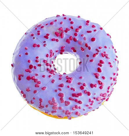 Tasty donut with sprinkles isolated on white