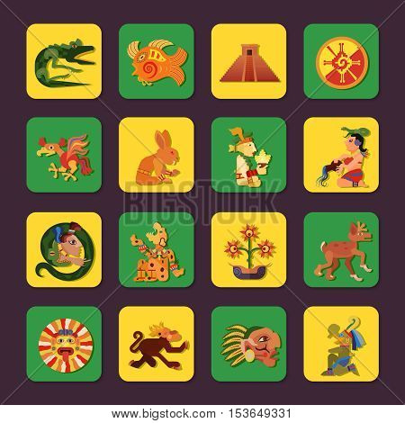 Maya green and yellow icons set with people and art symbols flat isolated vector illustration