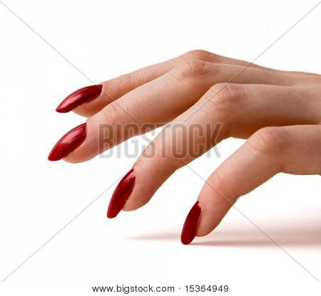 Fingers with red nails on white.