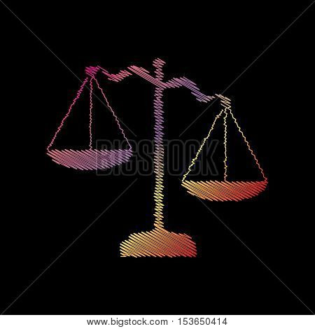 Scales Of Justice Sign. Coloful Chalk Effect On Black Backgound.