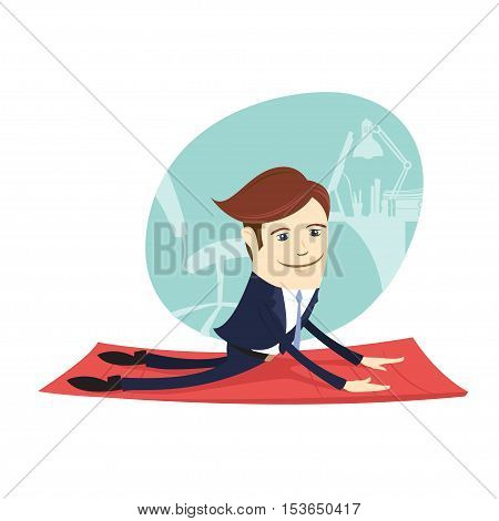 Vector illustration Funny business man wearing suit doing yoga meditating upward facing dog pose in front his office workplace. Flat style white background