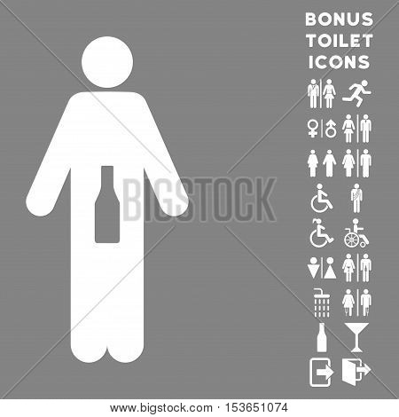 WC Man beverage icon and bonus male and lady restroom symbols. Glyph illustration style is flat iconic symbols, white color, gray background.