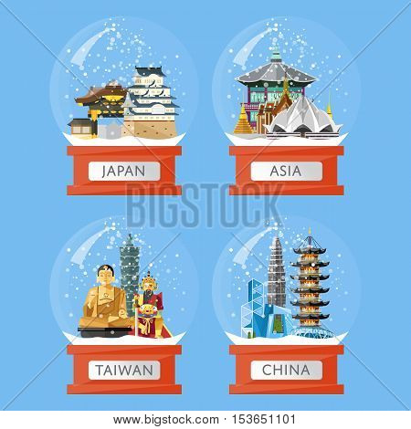 Vector illustration with famous asian traditional and modern attractions in snow globe. Christmas gift. Asian landmarks in glass bowl. Time to travel. Souvenirs set. Snow crystal ball collection
