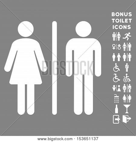 WC Persons icon and bonus male and female lavatory symbols. Glyph illustration style is flat iconic symbols, white color, gray background.