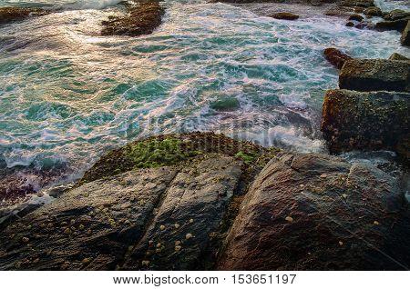 Waves breaking on the rocks forming foam on the ocean beach