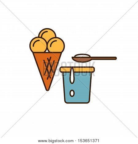 Dairy icon in line style design with ice cream and yoghurt in container, isolated vector illustration. Traditional and tasty products. Organic farming. Natural and healthy food symbol