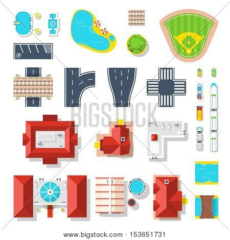 Top view set of houses pools vehicles road junctions and other city elements isolated vector illustration