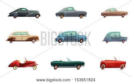 Retro car set of classic sport and convertible side view models of middle of twentieth century isolated vector illustration