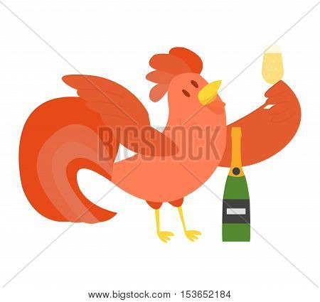 Cute cartoon rooster illustration. Cartoon rooster isolated on background. New Year 2017 symbol rooster with champagne
