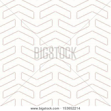 Geometric vector pattern with dotted pink arrows. Seamless abstract background
