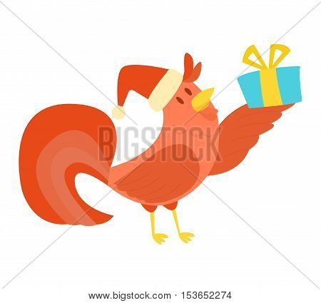 Cute cartoon rooster illustration. Cartoon rooster isolated on background. New Year 2017 symbol rooster,