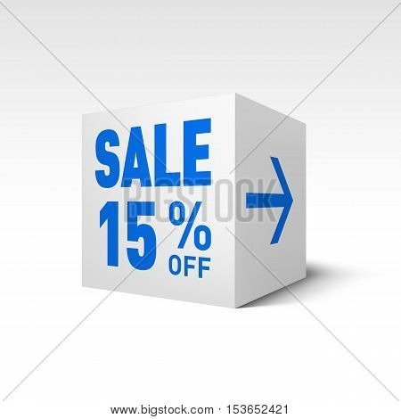 Cube Banner Template. Fifteen Percent off Discount