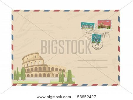 Coliseum in Rome, Italy. Ancient antique amphitheater. Postal envelope with famous architectural composition, postage stamps and postmarks vector illustration. Postal services. Envelope delivery