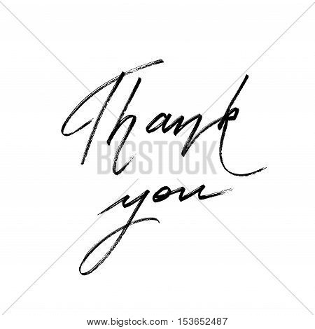 Thank you hand drawn lettering calligraphy text on white background isolated. Grateful lettering. Vector illustration stock vector.