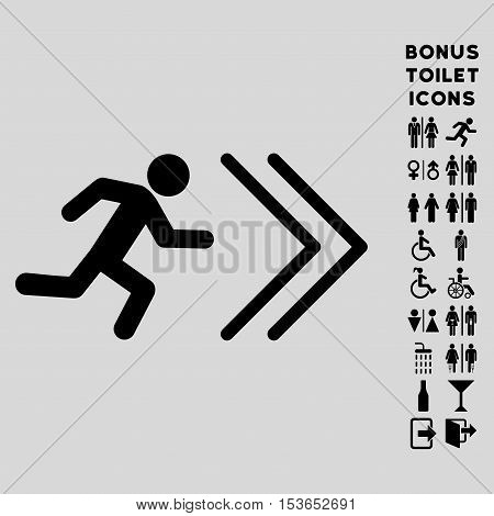Exit Direction icon and bonus gentleman and woman WC symbols. Glyph illustration style is flat iconic symbols, black color, light gray background.