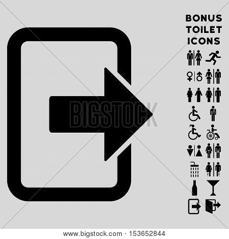 Exit Door icon and bonus man and woman toilet symbols. Glyph illustration style is flat iconic symbols, black color, light gray background.