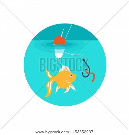 Vector illustration. Fishing. Goldfish are biting the bait on the hook.