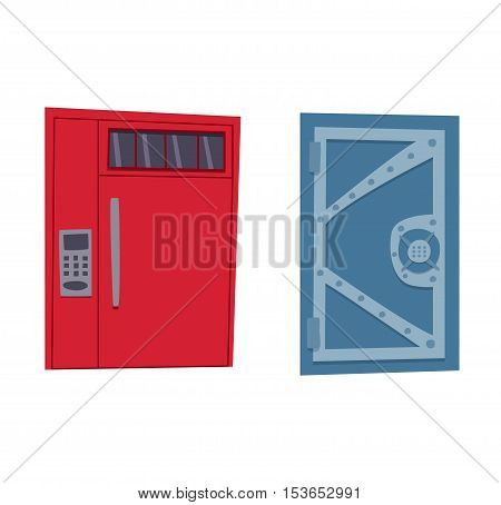 Bank safe door isolated on white. Colorful front door to house and building in flat design style isolated. Vector illustration